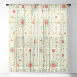Mid Century Modern Retro 1970s Inspired SunBurst in Muted Colors Sheer Curtain