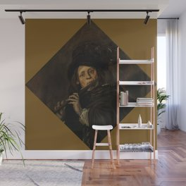 """Frans Hals """"A young man playing a flute"""" Wall Mural"""