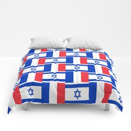 Mix of flag : france and israel Comforters