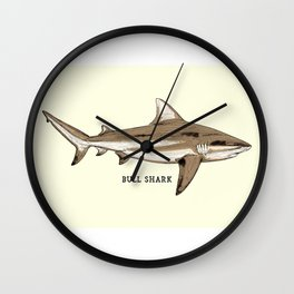 BULL SHARK Vintage Art Sketch for the Ocean Lovers Anglers and Fisherman Wall Clock