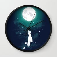 surreal Wall Clocks featuring Burn the midnight oil  by Picomodi