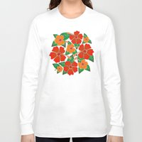 batik Long Sleeve T-shirts featuring Hibiscus Batik Pattern by BluedarkArt