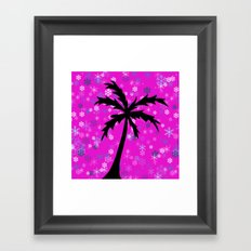 Palm Tree and Snowflakes Framed Art Print