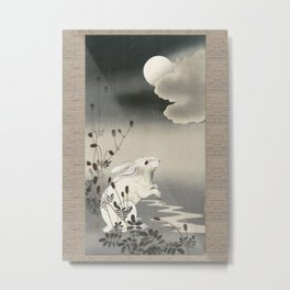 Rabbit and the Moon Metal Print