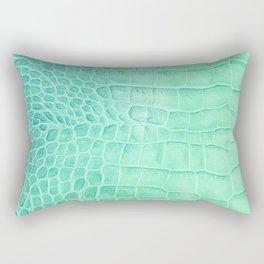 Croco leather effect - green water Rectangular Pillow
