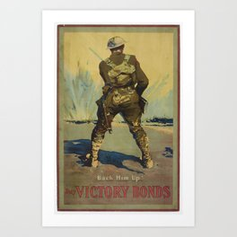 Poster, Back him up, circa 1918, Canada, by Victory Loan Dominion Publicity Committee Art Print