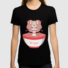 Monster Girl Oni Demon In Bowl Of Ramen Noodles Food Artwork T-Shirt