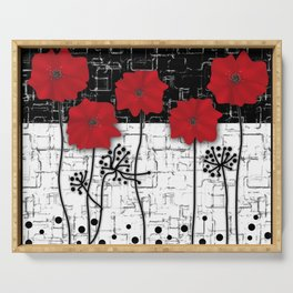 Applique Poppies on black and white background . Serving Tray