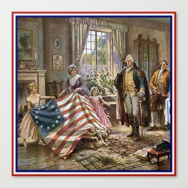 Edward percy moran: the birth of old glory Or Betsy Ross and Washington Canvas Print