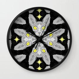 Sphynx Cat Black Pattern Wall Clock