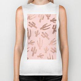 Modern rose gold cactus pattern on blush pink Biker Tank