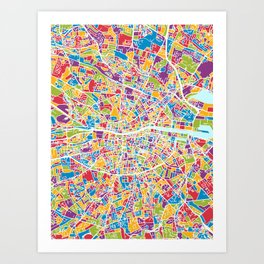 Dublin Ireland City Map Art Print