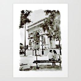 The Arc de Triomphe Paris Black and White Art Print