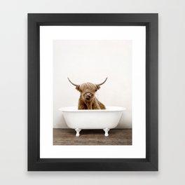 Highland Cow in a Vintage Bathtub (c) Framed Art Print