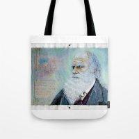 darwin Tote Bags featuring Charles Darwin by Michael Cu Fua