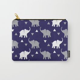 Elephants & Triangles - Navy Blue / Gray / White Carry-All Pouch