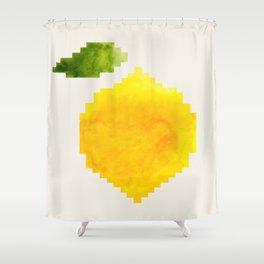 Geometric Watercolor Yellow Lemon Pixel Art Green Leaf Hard Edge Art Aztec Pattern Minimalist Mid Ce Shower Curtain