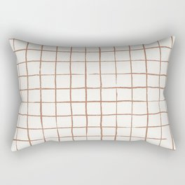 Imperfect Grid in Ivory and Clay Rectangular Pillow