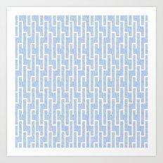 Blue and white latticework pattern Art Print