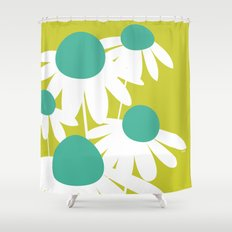Flowers on Green by Friztin Shower Curtain