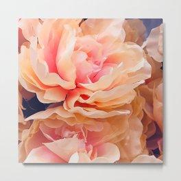 Cascade of Fluttering Peach Pink Roses Metal Print