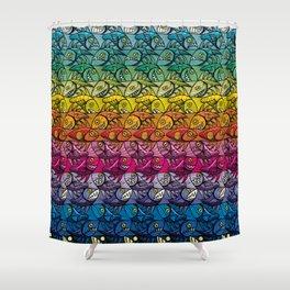 Escher Fish Rainbow Pattern Shower Curtain