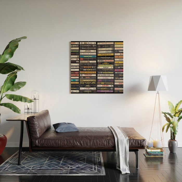 Old 80's & 90's Hip Hop Tapes Wood Wall Art