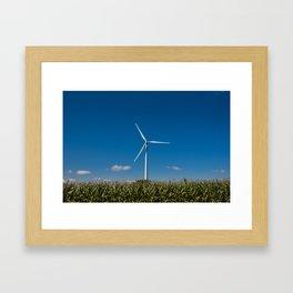 Windmill in a cornfield Framed Art Print