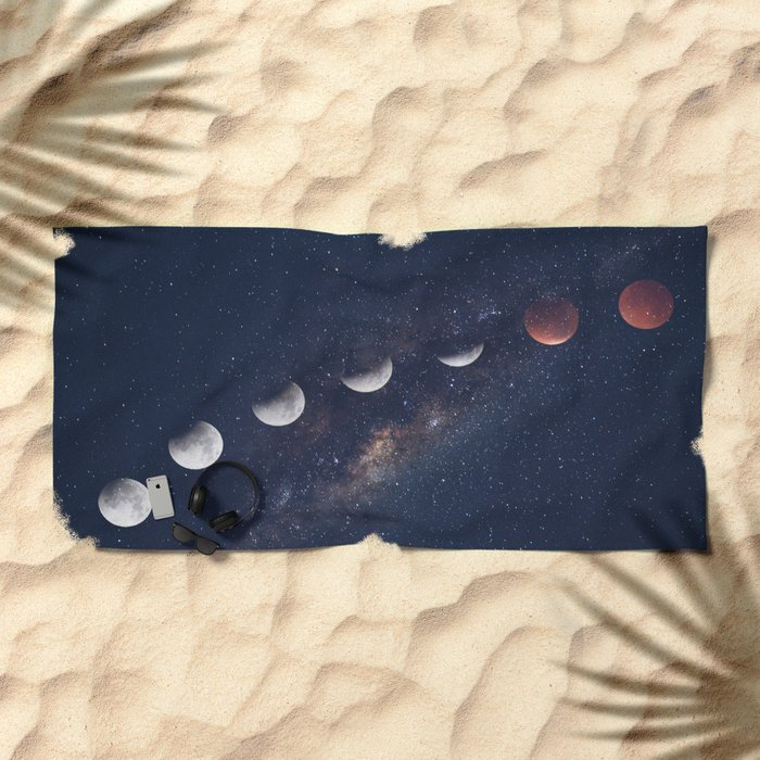 phases of the moon Beach Towel