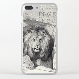 Vintage Lion etching Clear iPhone Case