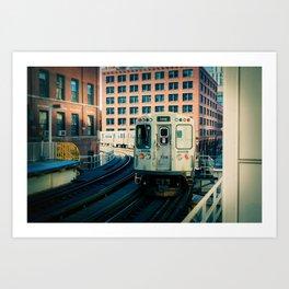 Chicago Train El Train Leaving Station L Train The Loop Urban Windy City Commute Art Print