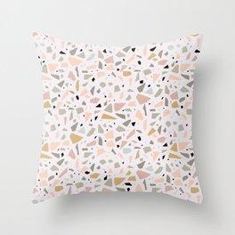 Terrazzo pink Throw Pillow
