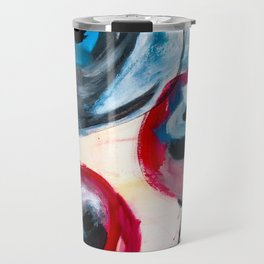 Tulips, Red Tulips, Blue Tulips, Abstract Flower, Spring, Blooming Roses Travel Mug