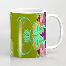 Moss Green & Pink-Purple Garden Fantasy Pattern Design Coffee Mug