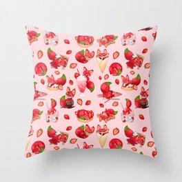 Foxberry Treats Throw Pillow