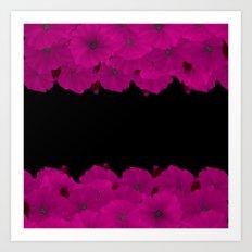 Hot pink black floral pattern . Pink azaleas . Art Print