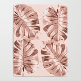 Rose Gold Monstera Leaves on Blush Pink Poster