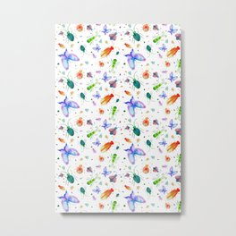 Fun Colorful Bugs Pattern Metal Print