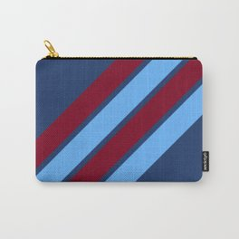 Maroon and Shades of Blue Stripes Carry-All Pouch