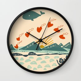 whale drops flying hearts Wall Clock