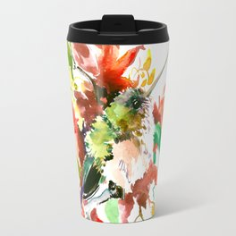 Little Hummingbird and Red Flowers Travel Mug