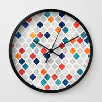 moroccan Wall Clocks featuring Sea & Spice Moroccan Pattern by micklyn