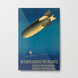 In 2 days across the Atlantic Vintage Travel Poster Metal Print