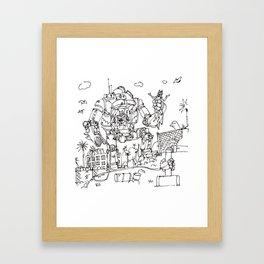 """""""Arkhamfall"""" lineart (Farts 'N' Crafts episode 2) Framed Art Print"""