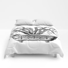 Tentacles in the Tub | Octopus | Black and White Comforters