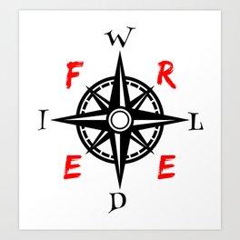 Wild And Free Compass Art Print