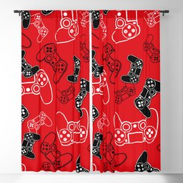 Video Games Red Blackout Curtain