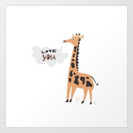 Love Giraffe Art Print