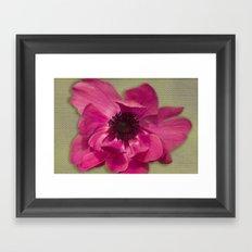 Pink Anemone on Linen Texture Framed Art Print