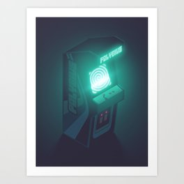 Polybius Arcade Game Machine Cabinet - Isometric Black Art Print